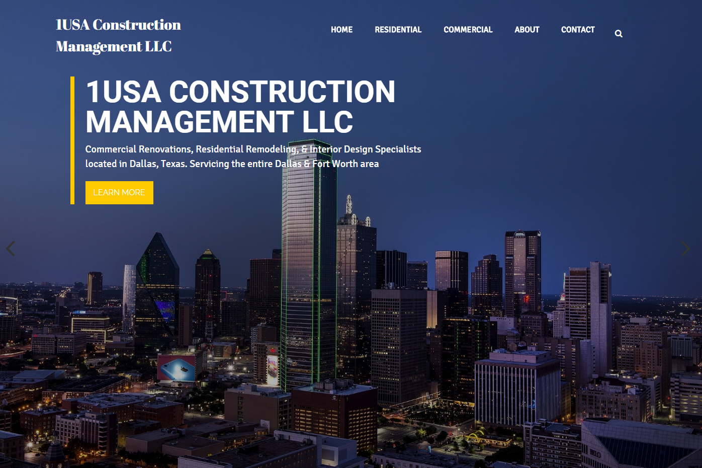1USA Construction Management WordPress